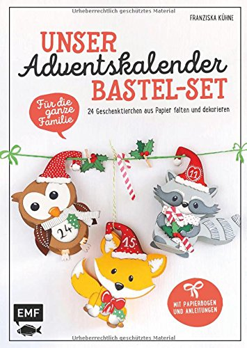 Unser Adventskalender Bastel-Set – Für die ganze Familie - Mit Papierbogen und Anleitungen: 24 Geschenktierchen aus Papier falten und dekorieren