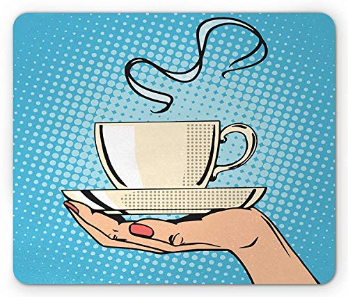 Coffee Mouse Pad, Woman Hand Holding A Hot Tea Cup Comic Strip Pop Art Retro Kitsch Illustration, Standard Size Rectangle Non-Slip Rubber Mousepad, Ivory Sky Blue