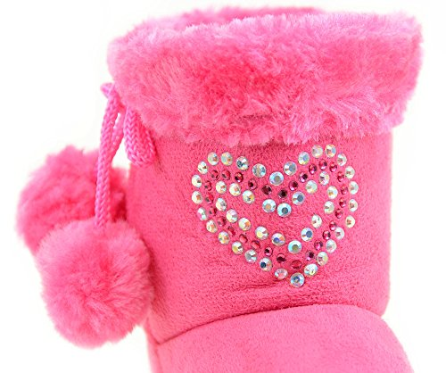 fourever Funky Unisex Baby 's Strass Fashion Pom Winter Stiefel A - Pink