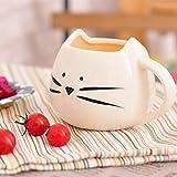 Bluelover Kreative Keramik Katze Tier Kaffeetasse Becher Wasser Milch Tasse Paare Liebhaber Tasse - Weiß