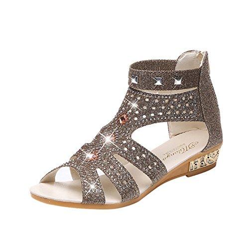 Sandales CompenséEs Femmes ELECTRI Dames Sandales Peep Toe Creux Trou Chaussures Roma Été Antidérapantes Pas Cher Espadrilles Montante Troupeau Chaîne Coins