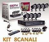 Kit de videovigilancia: 8 cámaras de infrarrojos + DVR + alimentador + cables