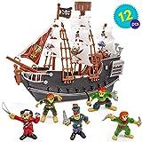 Nave pirata con modellini di pirati - Giocattolo perfetto da regalare agli appassionati di pirati, per compleanni, Natale, ecc.