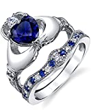 Damen Sterling Silber Claddagh Ring Set Mit Blau Saphir Und Blau herzförmige Zirkonia, Bequemlichkeit Passen Größe 50
