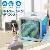 Climatiseur Portable - Ventilateur USB Muitifonction 3 EN 1Mini Climatiseur Humidificateur Purificateur 7 LED Couleurs pour Maison/Bureau/Camping (2018 Version)