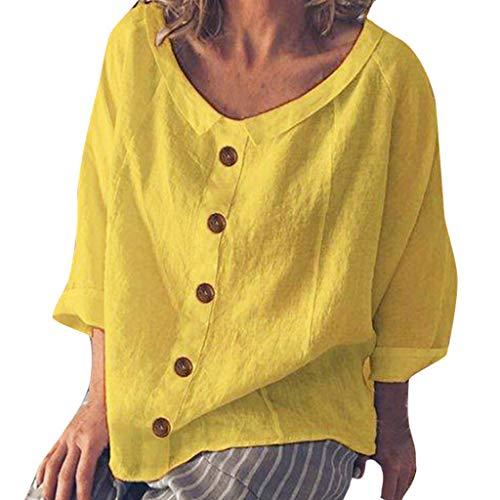 iYmitz 3/4-Arm Damen Streetwear Einfarbig Rundausschnitt Leinen Frauen Freizeit Bluse Sommer Freizeithemd(Z1-Gelb,EU-42/CN-XL)