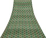 Svasti Vector Design Damast-Weinlese-Silk Sari Teal Grün