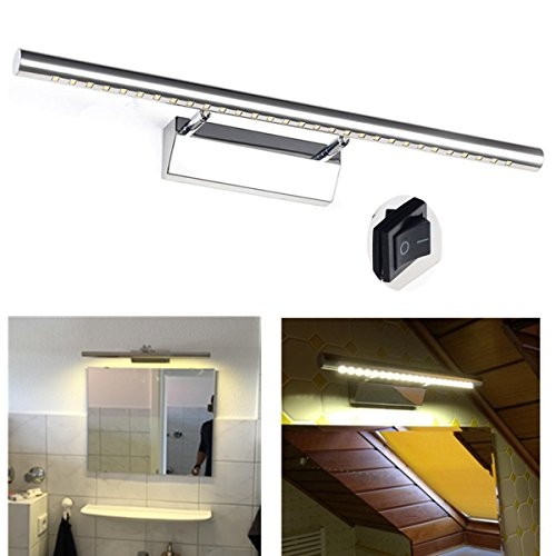 GreenSun LED Lighting 7w 55cm Bilderleuchte einstellbar Edelstahl 30SMD 5050 Spiegellampe Mit Schalter Spiegelleuchte Bad Leuchte Wandlampe Badzimmerlampe LED Spiegellicht Badlampe Warmweiß