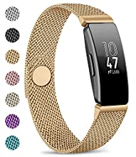AK Compatible for Fitbit Inspire HR Strap, Metal Mesh Magnetic Clasp Stainless Steel Replacement Strap for Fitbit Inspire & Fitbit Inspire HR (Rose gold, Small)
