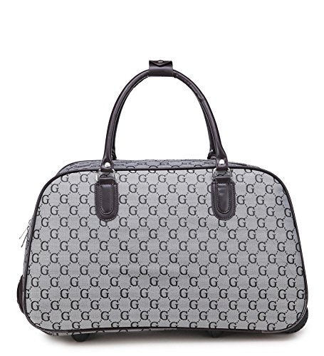 Ladies Designer G Holdall Trolley Weekend Bag Hand Luggage Travel Bag Handbag Designer Weekend Bag- Sugar Sweet Bags (Grey)
