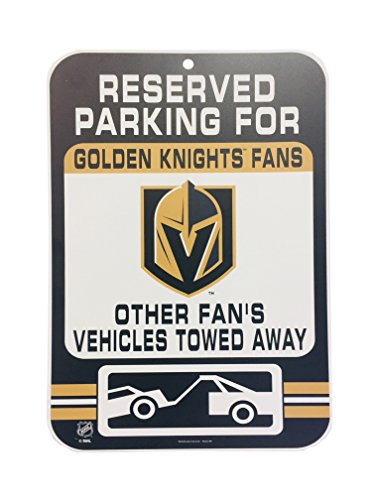 Wincraft NHL Vegas Golden Knights umgekehrt Parking signreversed Parking Sign, schwarz, 17