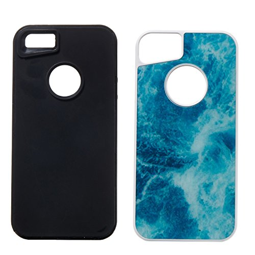 EKINHUI Case Cover Dual Layer Scrub Marmor Stein Bild Muster PC + TPU Fall Deckung Shell für iPhone 5s & SE & 5 ( Color : E ) D