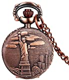 #4: LMP3Creation Fashion Classical Bronze Vintage Retro Antique Look US Statue of Liberty Pocket Watch - Unisex Chain Necklace Watch (POW-0190)