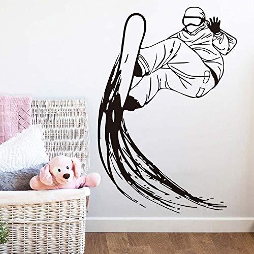jiushizq Adesivi murali Sci da sciatore Sci Estremo Sport Decorazioni per la casa Vinile Silhouette Rimovibile Adesivo da Parete Ragazzi Snowboard Murale Rosa 58 cm x 86 cm