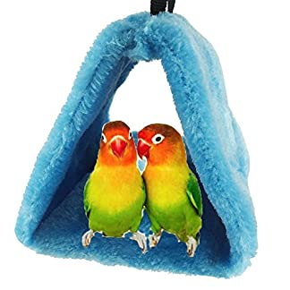 Bello Luna Blue Parrot Nest Pet Bird Nest Winter Warm Hammock Hanging Cave Cage Plush Happy Hut Tent Bed(S) 7