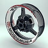 Felgenaufkleber Set Yoshimura Motorrad (17 Zoll) - Fegenrandaufkleber und Felgenbettaufkleber für Vorder- & Hinterreifen (Design 2 - glänzend)