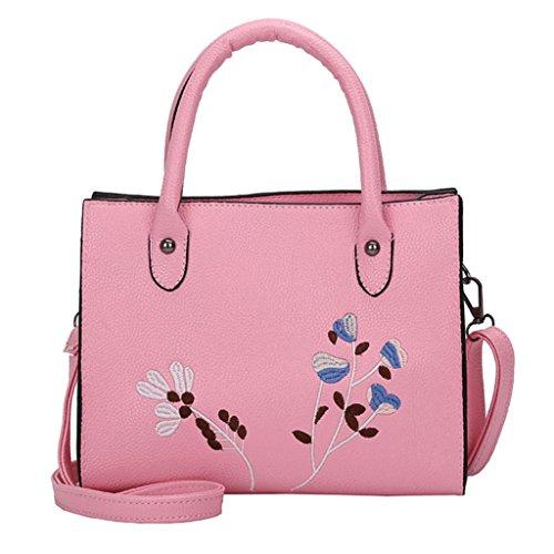 Damen Handtaschen, Huhu833 Frau Tote Casual Taschen Crossbody Tasche bestickt Leder Handtasche Schultertasche (Rosa) (Bestickt Handtasche Leder)