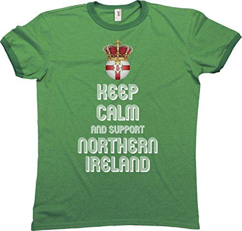 Mens Herren Ringer Glöckner T-Shirt KEEP CALM & Support Northern Ireland Nordirland Football Euro 2016