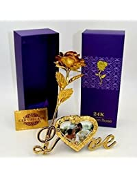 Gift Gallery Gold Plated Gold Rose with Gift Box and With Love Stand With Photo Frame