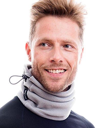Hilltop Polar Multifunktionstuch/Motorradmaske/Skimaske/Kälteschutz/Gesichtsmaske/Halswärmer/Polar Halstuch mit Kordelzug 100% Fleece, Design/Farbe:grau -