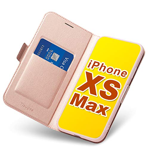 Tisuges iPhone XS Max Hülle iPhone XS Max Schutzhülle iPhone XS Max Leder-Etui aus Leder Folio-Hülle Schutzhülle PU + TPU Soft Shockproof Flip-Cover und Ständer mit Kartenhalter (Rose Gold) -