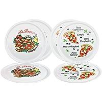 6er Set Pizzateller Napoli & Margherita groß - 32cm Porzellan Teller mit schönem Motiv - für Pizza / Pasta, den 'großen Hunger' oder zum Anrichten geeignet