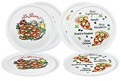 6er Set Pizzateller Napoli & Margherita groß - 30,5cm Porzellan Teller mit schönem Motiv - für Pizza / Pasta, den'großen Hunger' oder zum Anrichten geeignet