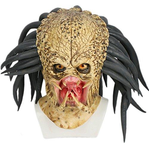 xcoser Cosplay Disfraz Máscara Deluxe látex 1  1 Réplica Casco Jungle  Hunter de la House 299ed8622a6
