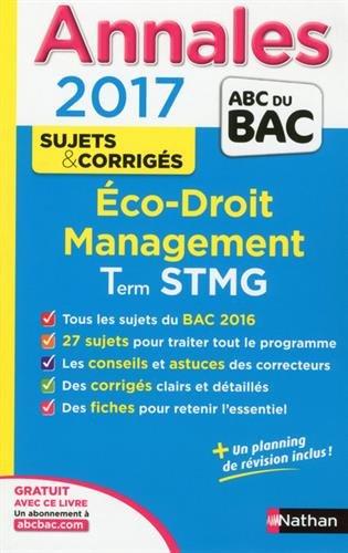 Economie-Droit, Management des Organisations Tle STMG : Sujets & corrigs