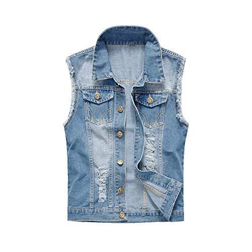 LASPERAL Herren Jeansweste Denim-Weste Ärmellose Basic Stretch Destroyed Vintage Jeans Weste Stehkragen Denim-weste