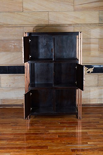 Vitrine massivholz 6 fächer highboard kommode bücherregal raumteiler schrank industrie design möbel - 2