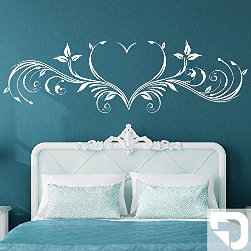 DESIGNSCAPE® Wandtattoo Florales Ornament mit Herz 180 x 54 cm (Breite x Höhe) weiss DW805040-L-F5