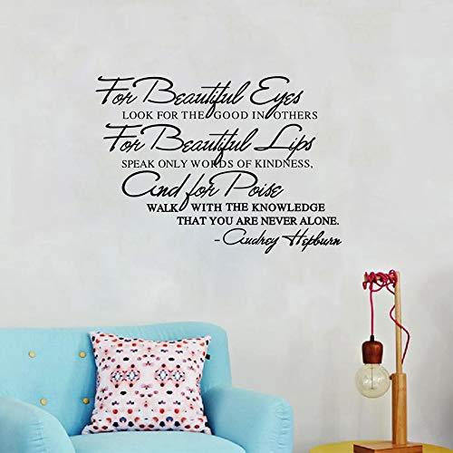 UDREY HEPBURN Berühmte Zitate Vinyl Wandaufkleber Wohnzimmer Wandkunst Aufkleber Dekoration 53X40CM ()