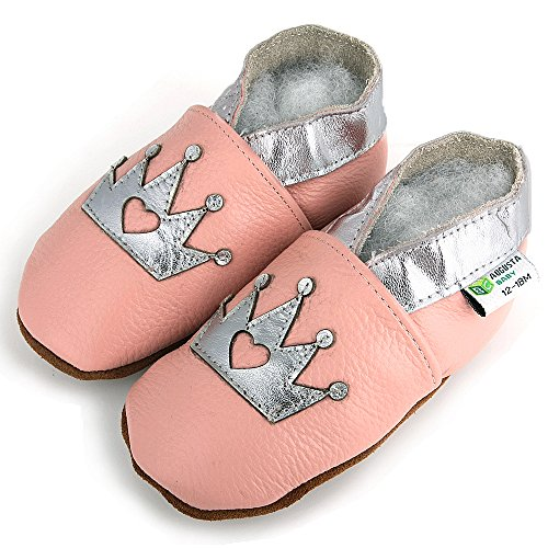 AUGUSTA BABY Baby Boys Girls First Walker Soft Sole Leather Baby Shoes - Genuine Leather pink