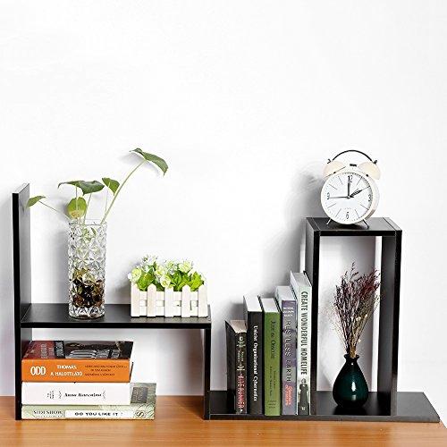 Cocoarm DIY Tisch Desktop Lagerregal Standregal Display Regal Organizer Tischorganizer Schreibtisch Tischregal Bücherregal Aufbewahrungsregal 3 Farbe (Schwarz) (Bücherregal Display-regal)