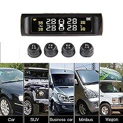 Teepao – Sistema TPMS di monitoraggio della pressione dei pneumatici wireless, per auto e camper,  impermeabilità IPX7, con display digitale LCD, 4sensori esterni per pressione e temperatura , funzione di auto allarme, ricarica tramite pannello solare e USB