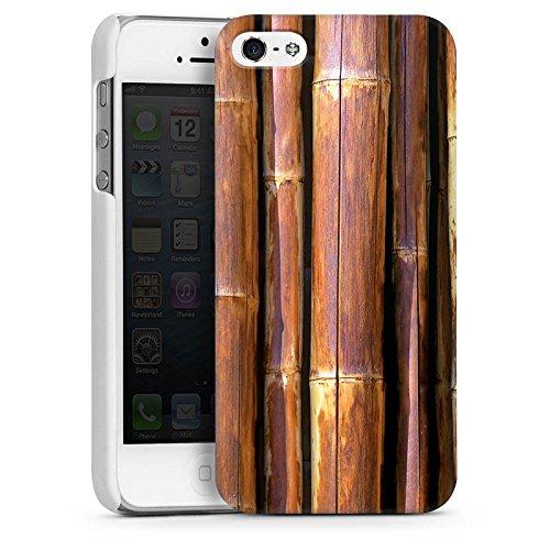Apple iPhone 4 Housse Étui Silicone Coque Protection Bambou Tuyau en bambou Marron CasDur blanc