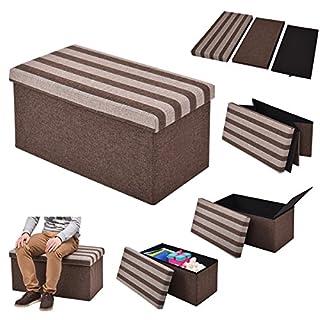 FDS COSTWAY Sitzhocker mit Stauraum Sitzwürfel Sitzbox Sitzbank Aufbewahrungsbox Ottomane Faltbar 76x38x38cm Braun Gestreift