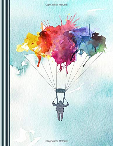 Skydiving Guitar Tab Notebook: Blank Music Sheet Paper - Large Blank Guitarist Staff Manuscript Notation Composition Book - Colorful Watercolor Parachutist Art