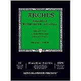 Arches Aquarelle Grain Fin Bloc Collé Petit Côté 12 Feuilles 300g 23 x 31 cm Blanc Naturel