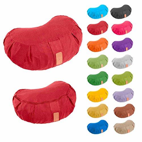 Yogakissen »Ganesh« Halbmond-Kissen mit Bio-Dinkelspelz (kbA) - Maße: 45 x 30 x 14 cm - ideal als Zafukissen / Meditationskissen / Rondokissen / Meditiationsunterlage - hoher Sitz-Komfort dank Dinkelspelzfüllung / maschinenwaschbar & hautfreundlich. Ideale Hilfsmittel / Accessoire (Sitzkissen) für längere Meditationen.Material : 100% Baumwolle - pink