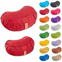 Preisvergleich für Yogakissen »Ganesh« Halbmond-Kissen mit Bio-Dinkelspelz (kbA) - Maße: 45 x 30 x 14 cm / Meditationskissen / Dinkelspelzfüllung / Maschinenwaschbar / Sitzkissen für Meditationen / 100% Baumwolle