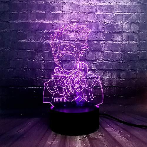 Comic Thema Lava Naruto Hatake Kakashi 3D 7 Farbe USB Ladung LED Illusion Nacht Lampe Home Boy Schlaf Tisch Glanz Geburtstagsgeschenk