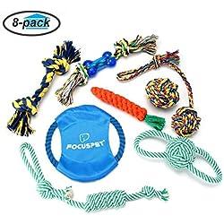 Hundespielzeug Set, Focuspet Haustier Hund Geflochten Seil Spielzeug Set Hund Spielzeug Interaktive Baumwolle Zähne Reinigung Für Kleine Bis Mittlere Hunde Kauspielzeug Packung mit 8 Stücke