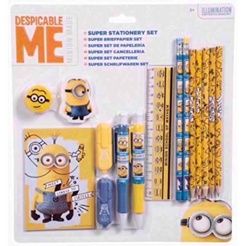 Schulschreibset Schreibset Schulset Minions 16-teilig bestehend aus 2 Bleistiften, Lineal, Radiergummi, Anspitzer, Notizblock, 2 Textmaker, 2 Kugelschreiber, 6 Buntstiften
