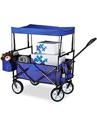 Relaxdays Chariot de transport pliable charrette pliante avec toît 360° pivotant poches HxlxP: 55 x 83 x 51,5 cm, bleu