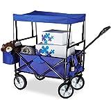 Relaxdays Bollerwagen faltbar, Sonnendach, Handwagen, 360 ° drehbar, extra Taschen, HTB: ca. 55 x 83 x 51,5 cm, blau