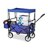 Relaxdays Chariot de transport pliable charrette pliante avec toît 360° pivotant...