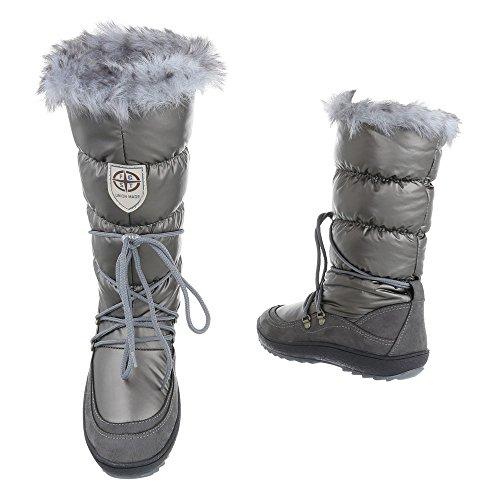 Komfortstiefel Damenschuhe Klassischer Stiefel Moderne Ital-Design Stiefel Grau Silber