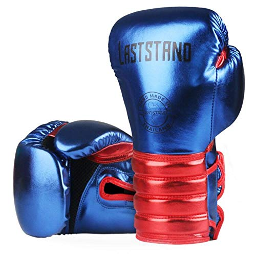 afgloves 1 para Metall Farbe Kinder Frauen Männer Boxhandschuhe für Sandsack Schlagtraining Muay Thai Karate Kampf Mitts 6-12 Unze @ CSJ_Blue_6oz -